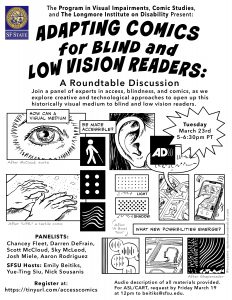 Poster for Blind Comics event, lists date Mar 21, 2021 5pm PT and participants